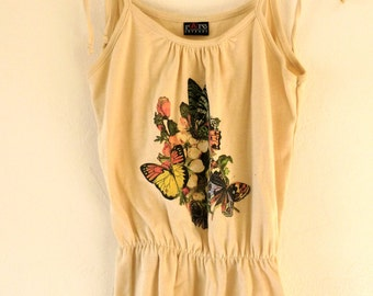 Vintage 70s Style Butterfly Tank Top Synched Waist and Tie Straps Detailing *Groovy* Sz S-M