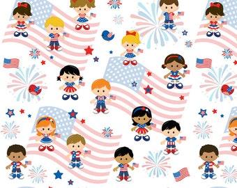 Patriotic 4th of July European Oeko-tex Certified Knit Fabric 1/2 yard