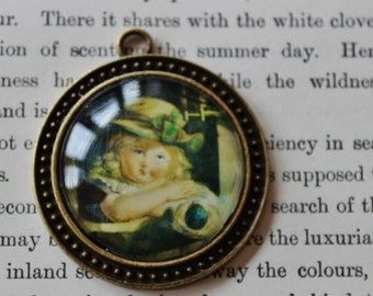 Little Girl and doll picture Pendant, charm, necklace, steam punk,  victorian curiosity