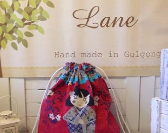 SALE - Drawstring Library bag / Laundry bag / Shoe bag / Pre School bag