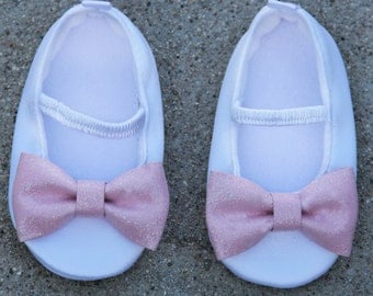 Birthday Baby Shoes Satin White Shoes With Pink Sparkle Bow Ballet Flat Crib Shoes Christening Baby Shoes