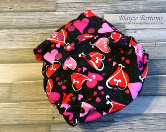 Pink & Red Hearts One Size Pocket Diapers
