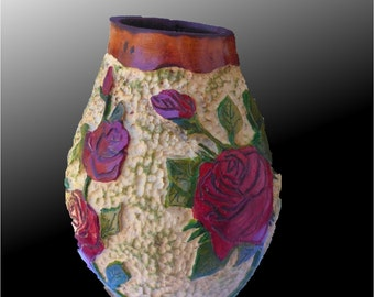 Gourd Art with Carved Roses