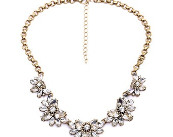 statement antique gold bib crystal flower necklace jewelry