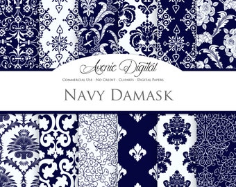 Navy Damask Digital Paper. Scrapbooking Backgrounds. Dark blue patterns for Commercial Use.  Instant Download.