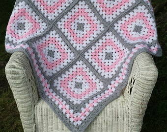 Pink and Grey Granny Square Baby Blanket, Crochet Baby Blanket, Baby Blanket, Granny Square, Handmade, Ready to Ship