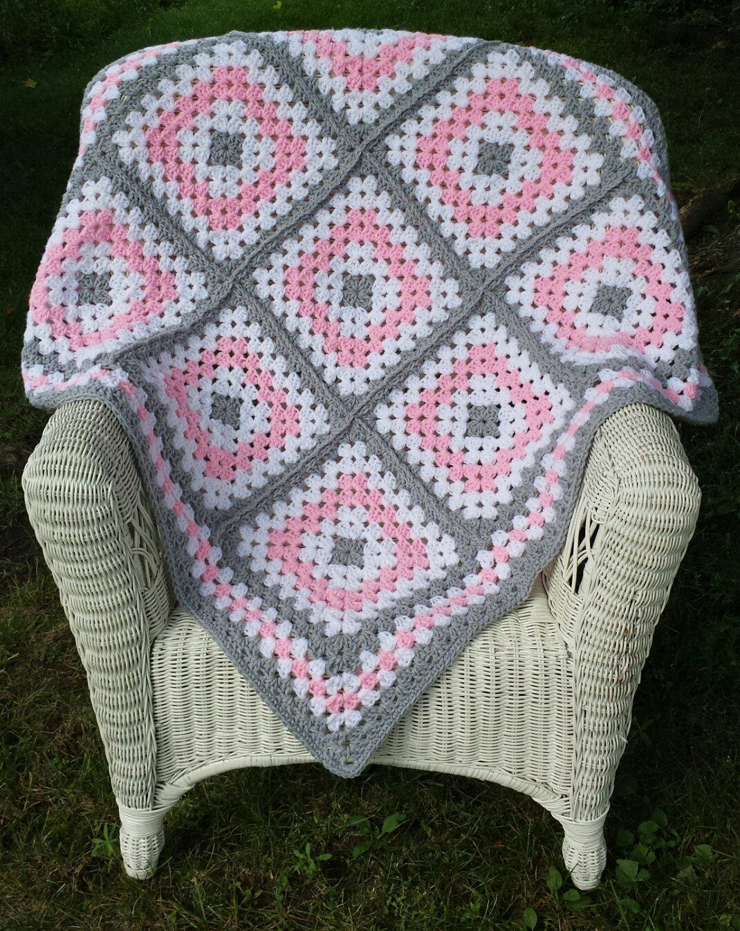 Pink And Grey Granny Square Baby Blanket Crochet Baby