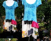 171--Fun up cycled summer dress-Patches and color-Raw stitching-Size large-Hand made tie dye-Trending-Festival clothing-Concert in the park