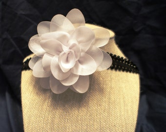 Infant/Baby/Toddler Black Lace Headband With A White Flower