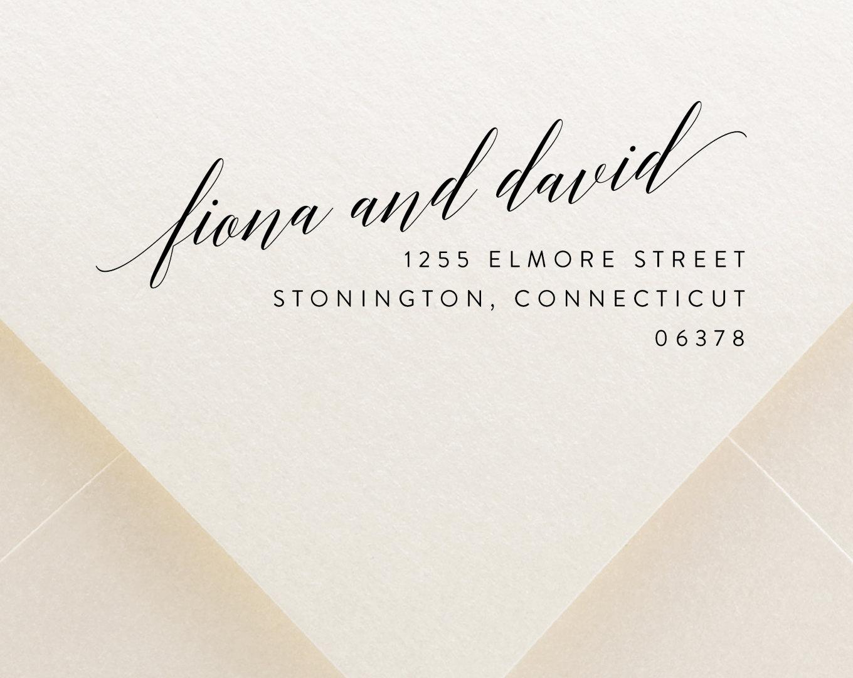 Printable return address digital calligraphy