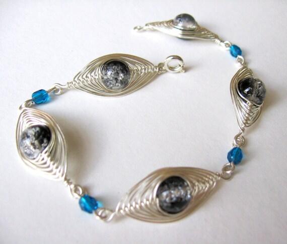 Wrapped beaded bracelet handmade with black crackled beads amp blue