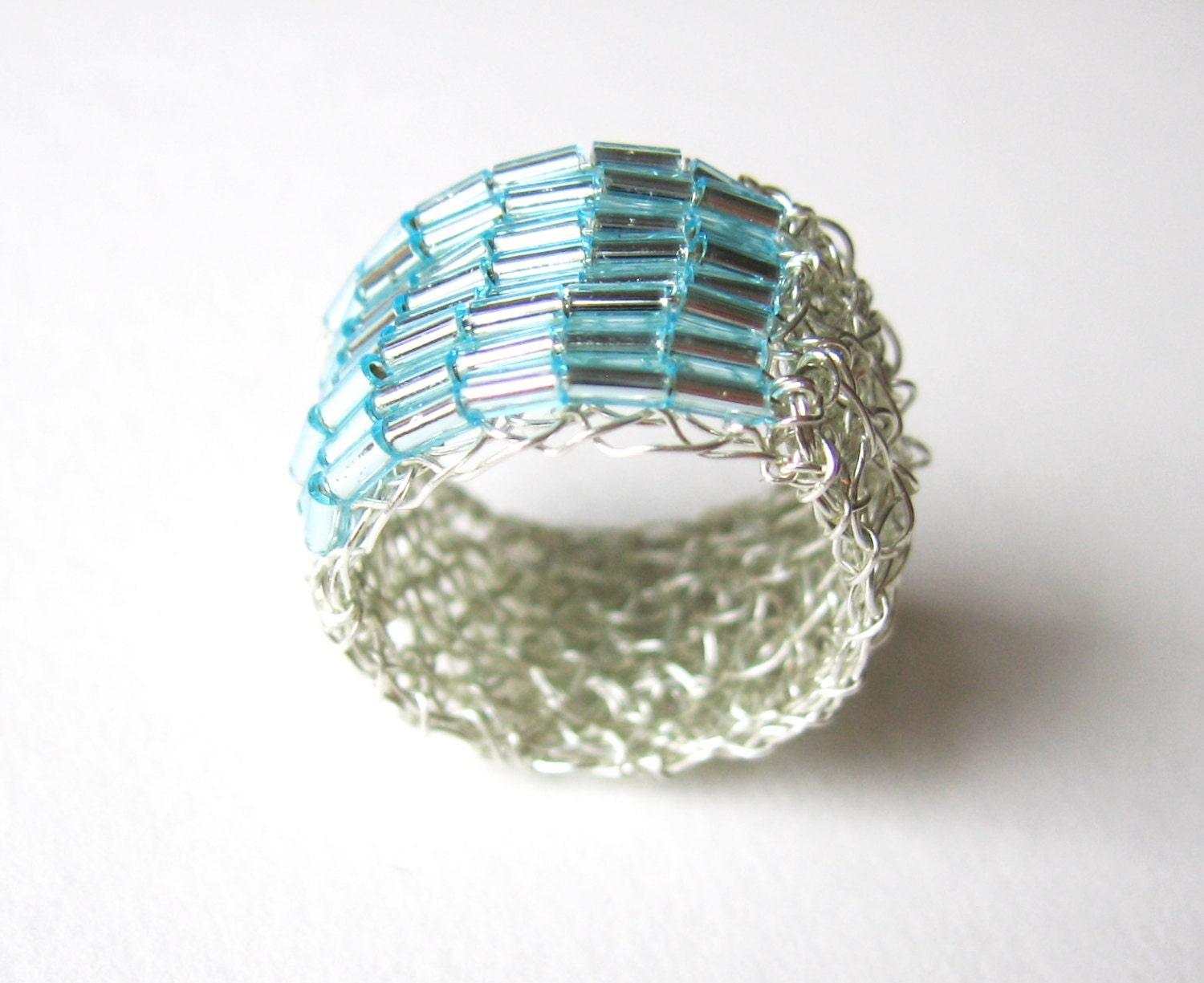 silver wire crochet band ring beaded handmade from