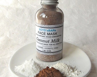 Coconut Milk Face Mask - All Natural face mask, Vegan face mask, Handmade face mask, Cocoa face mask, Clay face mask, Moisturizing face mask