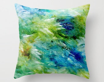 Turquoise Pillow, Blue Green Pillow, Blue Yellow Pillow, Cushions, Abstract Pillow, Decorative Pillow Cover, Couch Pillows, Accent Pillow