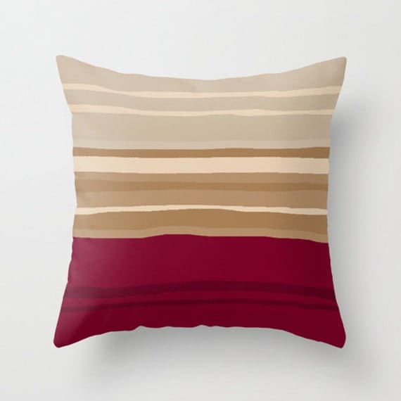 Burgundy Pillow Deep Red Taupe Beige Throw by DesignbyJuliaBars
