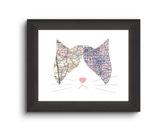 Personalized Cat Map | Long Distance Gift | Unique Wedding Gift |Moving Away Present | Unique Cat Lovers Gift | State to State