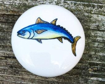Yellowtail Game Fish Ceramic Knob  Nautical Ocean Fishing