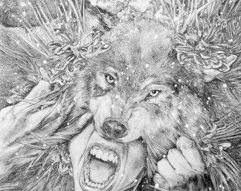 Lady Wolf Print