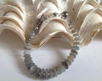 Moonstone Bracelet, Grey, Sterling Silver, Genuine Gemstone, Gift