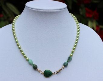 Emerald Necklace, Statement Necklace, Gemstone Necklace, Pendant Necklace