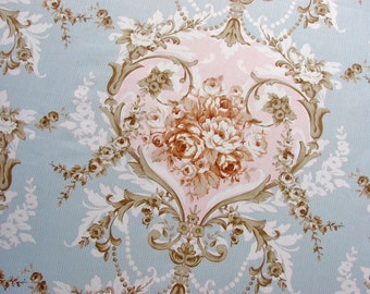 Shabby Chic Fat Quarter - Rococo / Baroque Style - Roses In Sepia On Soft Blue & Pink - Vintage Wallpaper Style Floral Cotton Fabric