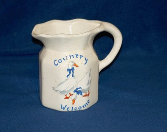 Vintage Stoneware 1 Quart Pitcher w Ducks Geese and Country Welcome on Front