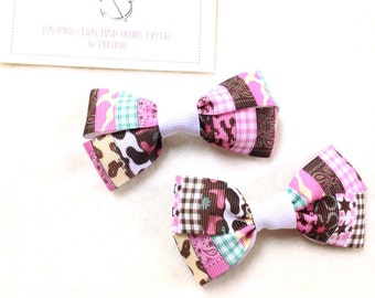 Western Cowgirl Multi-Pattern Set of TWO Hair Bows / Barrettes / Clips!