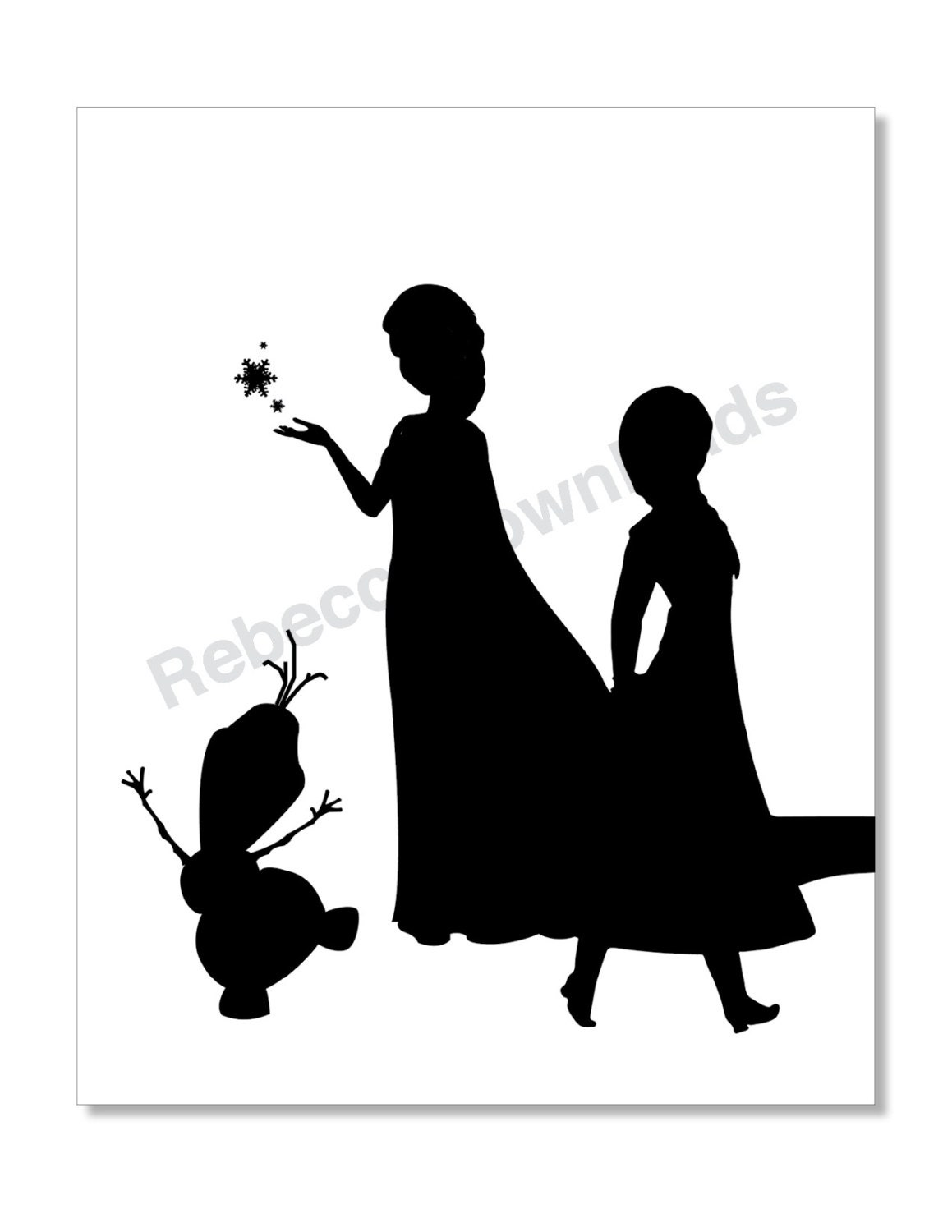 Frozen Characters Silhouette Black and White Print Decor