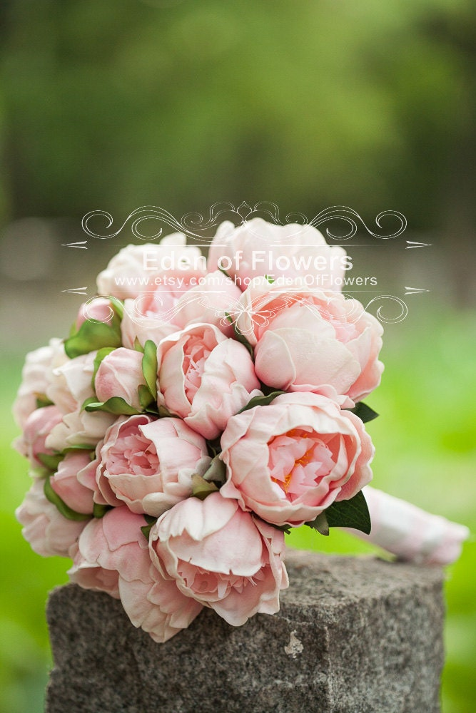 Pink Peony Bridal Bouquet Silk Artificial Peony Flower