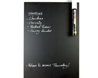 A3 Fridge Chalkboard with Magnetic Fixings, Eaziwipe Memo Blackboard, Includes Chalk Pen