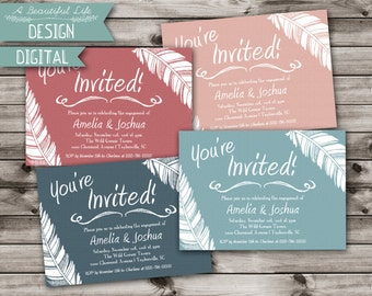 Printable Engagement Party Invite - Falling Feathers - Digital File - Customizable