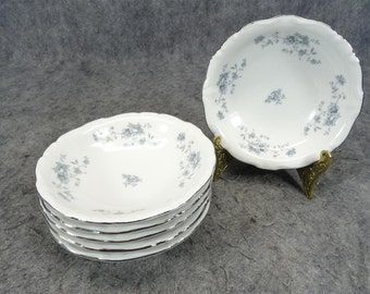 "Haviland Set of 6 Fruit/Dessert Plates in ""Blue Garland Design Pattern"