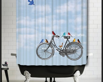 Vintage Bicycle With Colorful Birds Shower Curtain   Birds On Antique Bike  Red Yellow Blue Shower