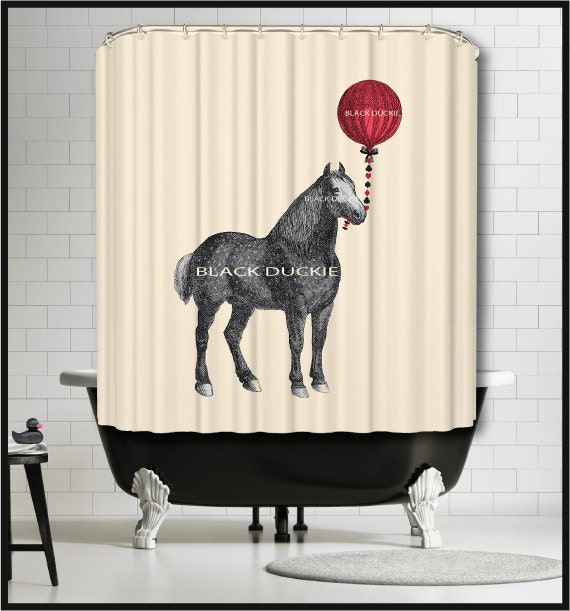 Horse With Red Balloon Shower Curtain Horse Animal Red Decor