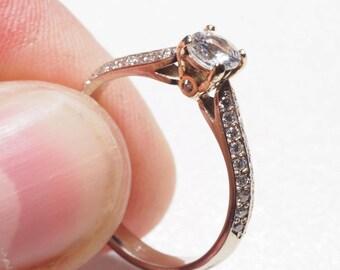 9K two tone white Sapphire/Diamond engagement ring