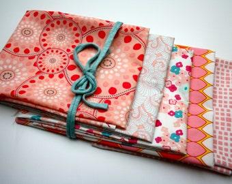 Bundle of 5 patchwork fabrics in pink tones 55x45cm