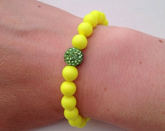 Neon yellow bracelet with green Shamballa glitter ball, Neon bracelet, green glitter ball bracelet, Summer fun bracelet