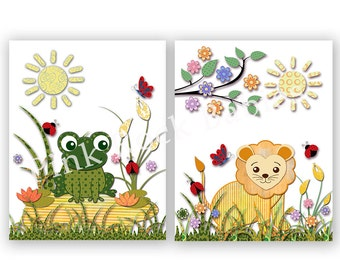 Safari poster nursery wall art baby boy room decor jungle artwork animal decoration kids room decor yellow green lion frog playroom decor
