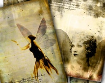 ANGEL s TIME printable aceo size  - Digital collage sheet instant download chic sepia paper goods background vintage - ac231