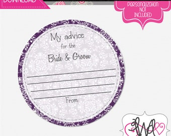 INSTANT DOWNLOAD: Advice Coasters for the Bride and Groom, Wedding Reception, Wedding Game