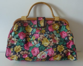 Bag floral motif with handle in bamboo 70s vintage