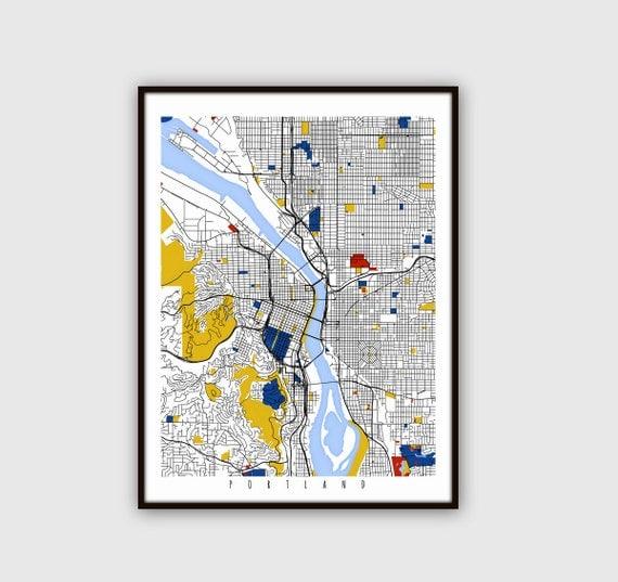 Home Decor Stores Portland Oregon: Portland Map Art / Oregon Wall Art / Print / Poster / Modern