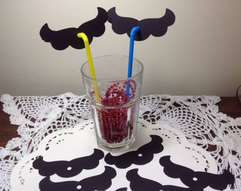 Just 12 Nintendo Mario Mustache party straw toppers