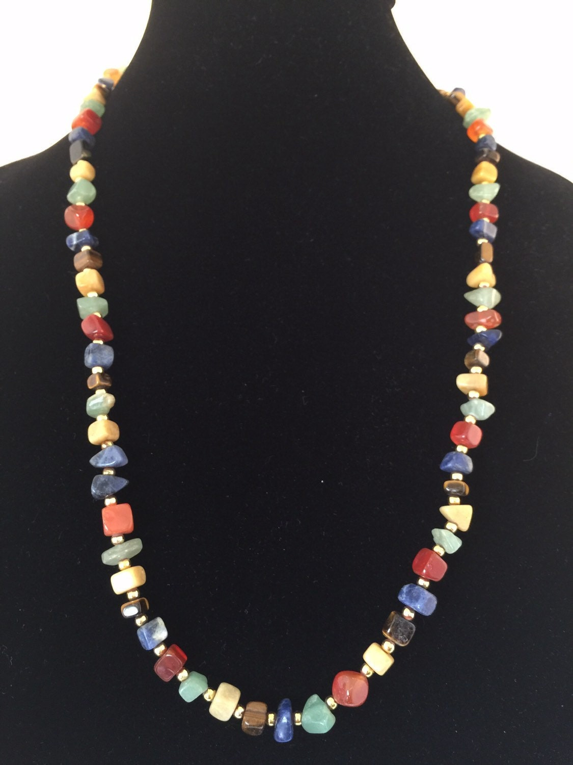 Vintage Polished Stone Multi Colored Necklace