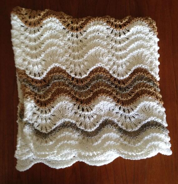 Baby Bamboo Blanket Pattern: Baby Blanket White Tan & Grey Wavy Stripes Pattern. Cotton