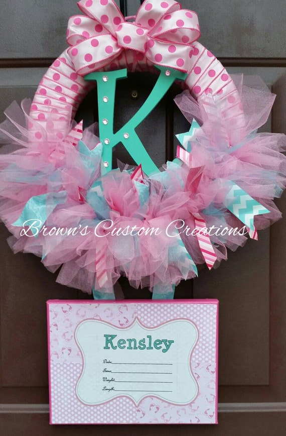 pink tulle baby shower wreath birth announcement wreath with