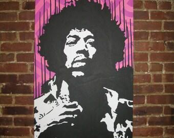 Jimi Hendrix Drip Original Pop Art Painting on Canvas 24x48