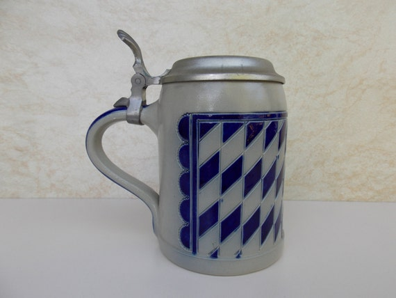 Vintage Ceramic German Beer Stein Mug Pewter Metal Lid Bayer