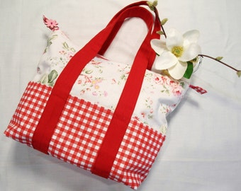 Clearance 30% off,Floral Print Pattern Handmade Handbag with Zipper Closure and  Six Outside Pockets