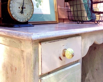 Minty Whitewashed Desk/Vanity